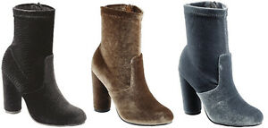 Chunky Cylinder High Heel Velvet Ankle Zipper Almond Closed Toe Booties Boots