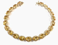 "Beautiful 9ct Gold Sparkling Citrine Tennis 7.5"" 19CM Bracelet GIFT BOXED"