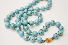 Antique Chinese Peking glass?gilded blue bead necklace hand-knotted hand painted