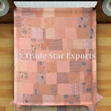 Indian Saree Patchwork Kantha Quilt Handmade Bedspread Queen Reversible Bedding