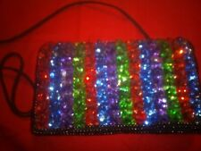 Brightly Colored Sequenced Evening Bag With Shoulder Strap