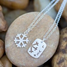 Snowflake with Love Pendant Necklace 925 Sterling Silver for Couples