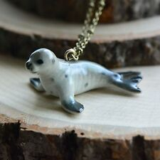 Hand Painted Porcelain Monk Seal Necklace, Antique Bronze Chain, Ceramic Animal