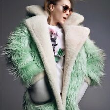 COACH Runway Shearling-Trimmed Fluff Faux Fur Coat Jacket Green XS New $1495