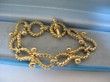 Vintage 9ct GOLD Plated Rope Chain Nautical Bracelet T-bar Ring Clasp 32.6grams