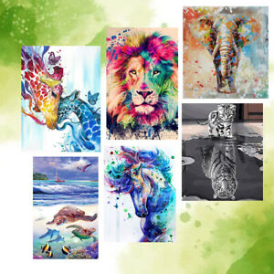 Frameless Paint by Numbers Painting Kit Canvas Wall Art Home Acrylic Animals