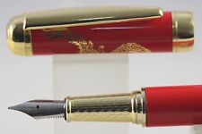 Jinhao Red & Gold Porcelain Fine Fountain Pen, Dragon Design
