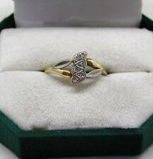 Precioso dos Color de 18 quilates chapado oro y diamante anillo