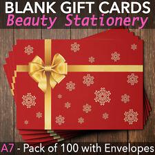Christmas Gift Vouchers Blank Beauty Salon Card Nail Massage x100 A7+Envelope RG