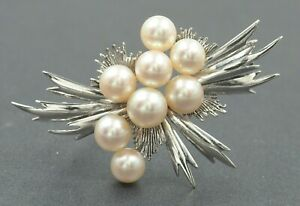 Mikimoto Pearl Sterling Silver Vintage Brooch