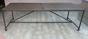 Oka Gramercy Oak & Aged Metal Dining Table, Large Industrial Style, Seats 10-12