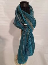 """New Urban Hand crocheted  Scarf Teal green blue gray 6"""" W by 60""""L"""