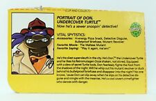 TMNT DON, UNDERCOVER TURTLE FILE CARD Vintage Action Figure Bio ID 1990