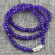 AAA+ 2x4mm Natural Faceted Purple Amethyst Gemstone Beads Necklace 18''