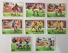 8 Briefmarken Stamps Satz Fußball Liberia München Munich 1974 World Football CUP