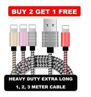 Heavy Duty Lightning Braided 1M 2M USB Charger Cable For iPhone 6 6S 7 8 X IPad