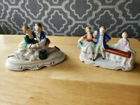 2 Occupied Japan Porcelain Figurines Lady Man Dancing Playing Piano Kneeling