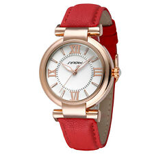 SINOBI Branded Designer Ladies Watch Red Leather Strap