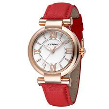 SINOBI Branded Designer Ladies Watch Red Leather Strap