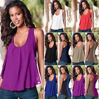 Summer Chiffon Sleeveless Scoop Neck Tank Top Fashion Womens Vest T-Shirt Blouse