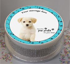 "Personalised Golden Labrador Puppy with Quote 7.5"" Edible Icing Cake Topper"