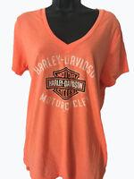 "Harley-Davidson Women's Soft Neon Orange  V-neck shirt Large ""chrome Option"""