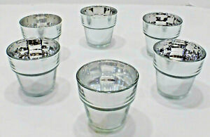 """Lot of 6 or 12 Silver Mirror Glass Cache Pot Votive Holders, 2.75"""" Tall, NEW"""