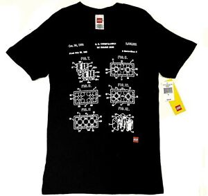 Lego TOY BUILDING BLOCK PATENT BLUEPRINT T-Shirt NWT Licensed & Official