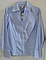 Women's Blouse ANN TAYLOR LOft Size 8 Blue White Stripes Fitted NWT