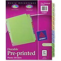 Avery Preprinted Monthly Plastic Divider Jan-Dec 1/Set Assorted Divider/Tab