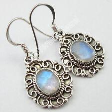 "925 Sterling Silver Blue Fire RAINBOW MOONSTONE HANDMADE Earrings 1.3"" NOUVEAU"