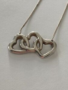 Tiffany & Co. 3 ​​Triple Open Heart Necklace Pendant Sterling Silver 925