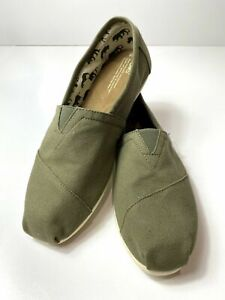 Toms Mens Classic Canvas Alpargatas Loafer Shoe Size 11 Olive Green Slip On New