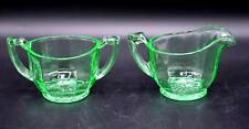 Vintage Green Depression Glass Creamer & Sugar Bowl