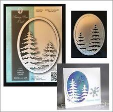Snowy Pine Oval metal die Memory Box cutting dies 99831 pine tree frames