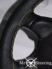 FITS MAZDA BRAVO 98-06 PERFORATED LEATHER STEERING WHEEL COVER CREAM DOUBLE STCH