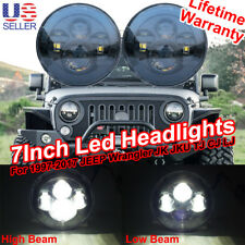 2x 7''Inch Black Round LED Projector Headlights for 97-17 Jeep Wrangler JK TJ YJ