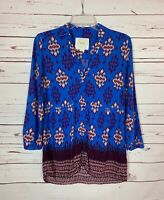 Maeve Anthropologie Women's Size 8 Blue Button Long Sleeve Spring Top Blouse