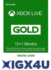 UK XBOX 12+1 Month Xbox One / Microsoft XBOX 360 LIVE GOLD 13 Month Card NEW