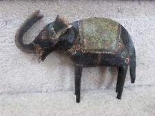 """VINTAGE Folk Art Hand Painted Dovetailed  Metal Elephant Figurine Figure 6.75"""""""