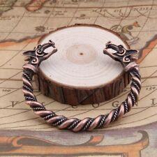 Mens Silver/Copper Sturdy Stainless Steel Dragon Viking Wolf Open Cuff Bracelet