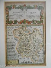 BOWEN/OWEN: HUNTINGDON to IPSWICH, c1720 Hand Coloured Map, Framed/Glazed Anglia