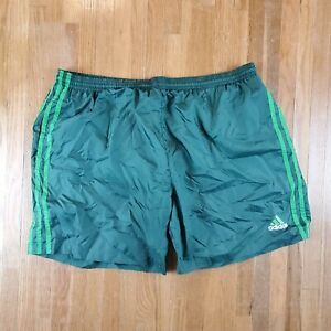 Vintage Adidas Spell Out Swim Trunks Sz Large Swimsuit Board Shorts Nylon Green