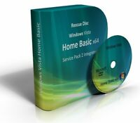 Windows Vista Home Basic 64 Bit Re-Install Restore Repair Recovery SP2 Boot DVD