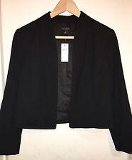 NWT $149 ANN TAYLOR Black SLIM FIT OPEN FRONT Collarless SHORT Blazer Jacket 2
