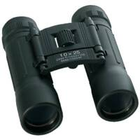 BINOCULARS & CASE Compact 10x25 Power Lenses Black Hunting Guide Birds Camping