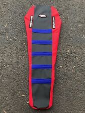 Motoseat Gripper Ribbed Seat Cover Honda CR 125 250 2000 2007 CRF250 Red/Blk/Blu