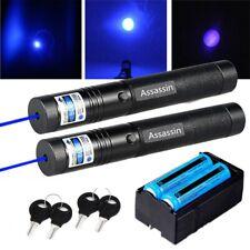 New listing 2Pcs 500Mile Assassin Blue Purple Laser Pointer Pen Astronomy Beam+18650+Charger
