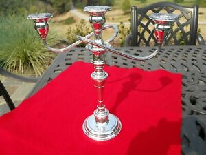 """S. Kirk & Son Sterling Repousse Silver Candelabra  3-Light 12.3"""" Tall"""