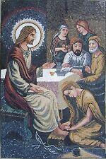 """72"""" Jesus Christ Mural Handmade Marble Mosaic Art Tile Stone Decor"""